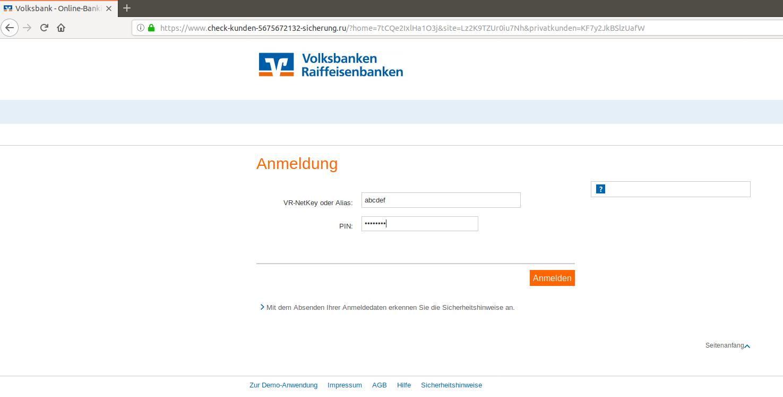 Phishing VR-Bank - Volksbankkunden werden geködert