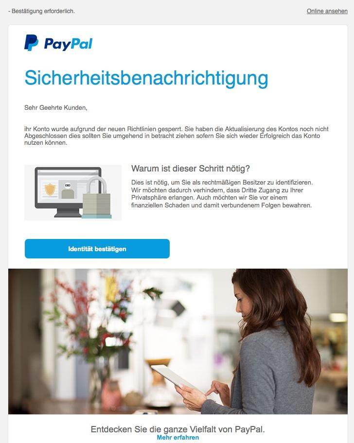 Paypal Spam Weiterleiten